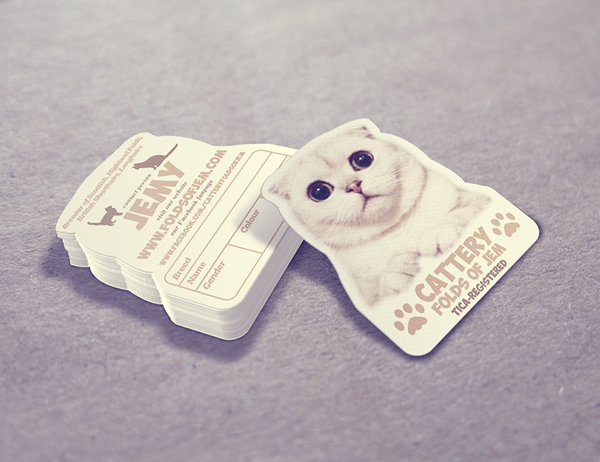 Cattery Folds of Jem die cut business card design