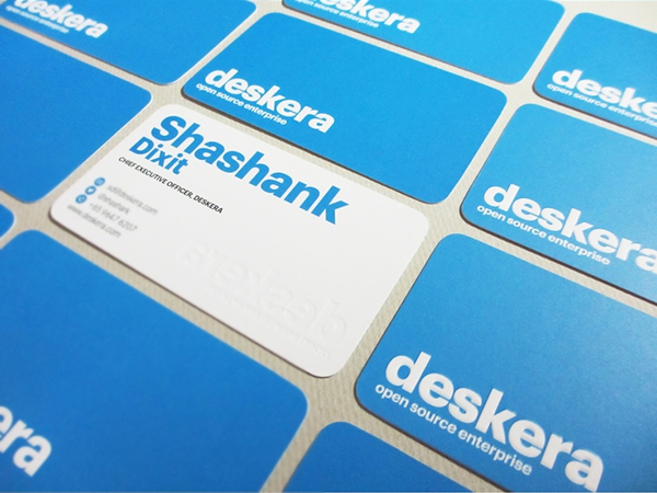 Deskera embossed business card design