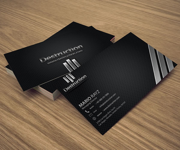 Destruction corporate business card