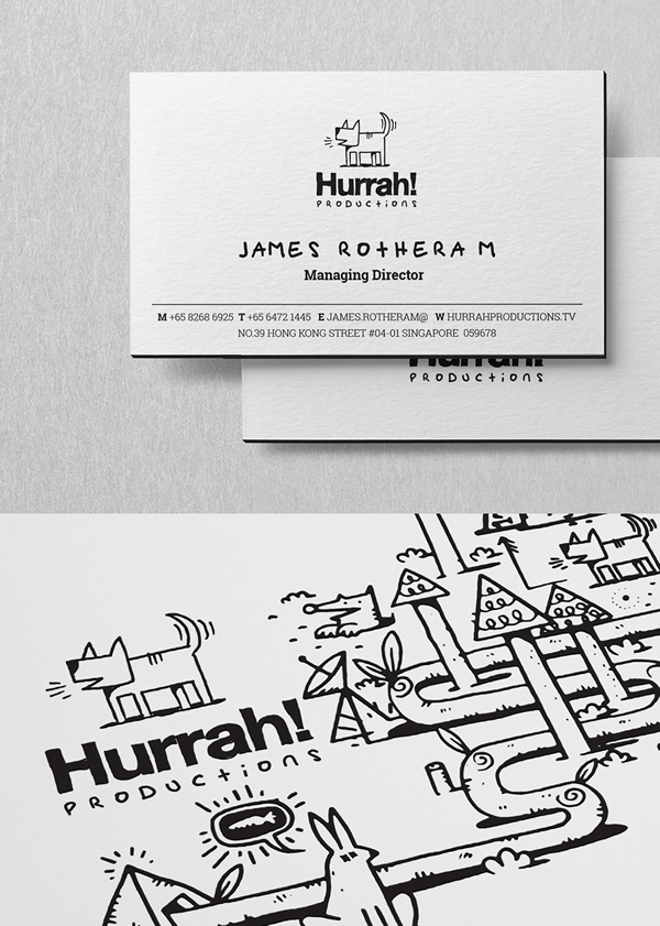 Hurrah! letterpress black edge business card design