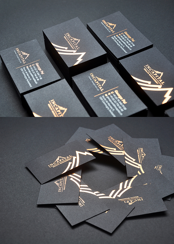 Incapital copper foil black business card – Lemon Graphic ...