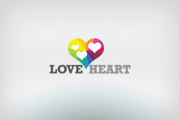 love heart logo design