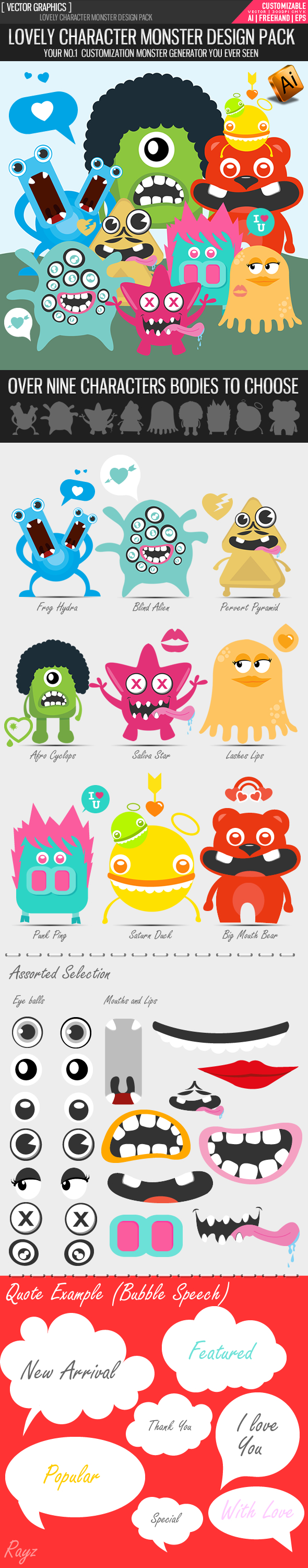 Lovely monster character design