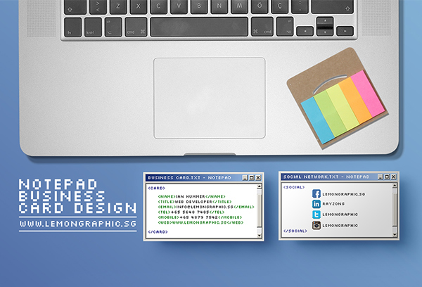 Notepad programmer business card design