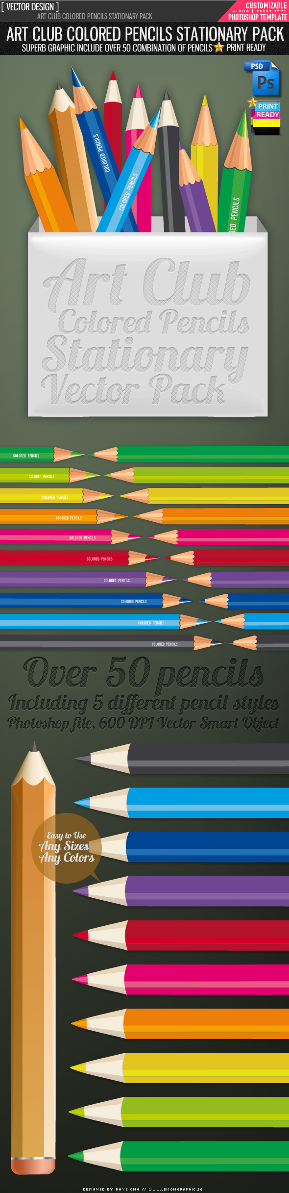 Art club Colored pencils vector pack