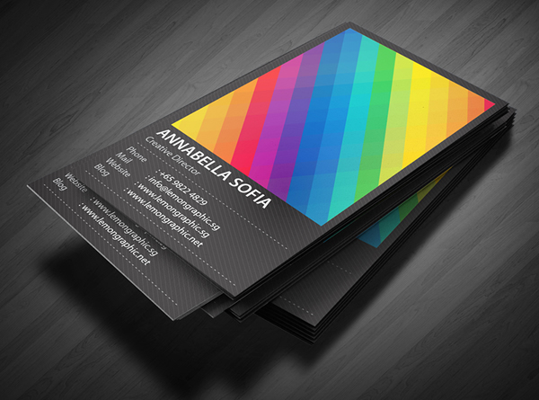 Rainbow Typography business card design