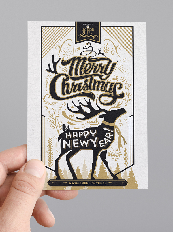 Typography christmas card design 2015