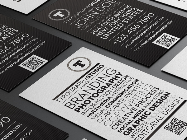 Typography Studio quick response business card