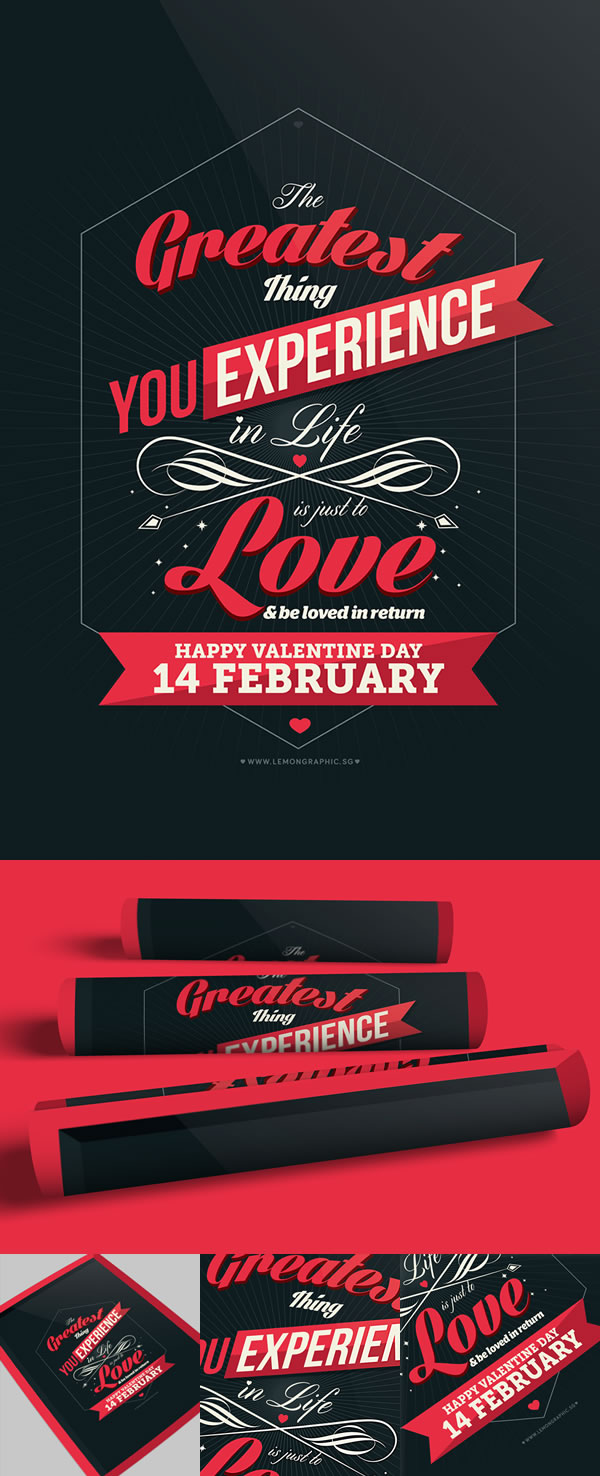 Valentine day poster card design