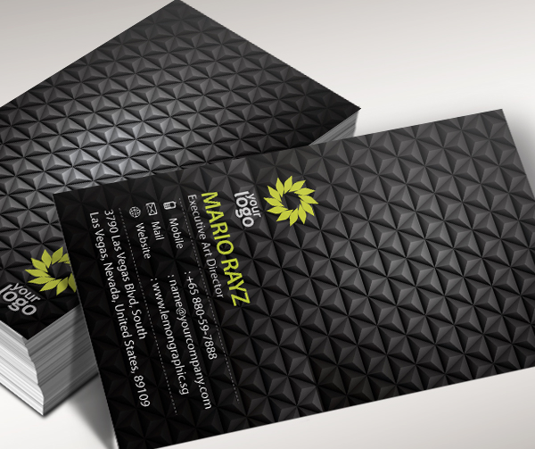 black charcoal business card
