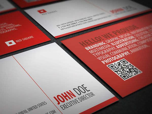 Red square quick response business card