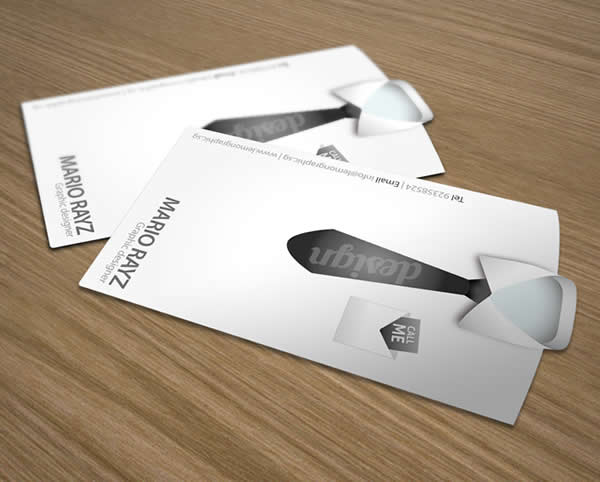 Tailored shirt die-cut business card