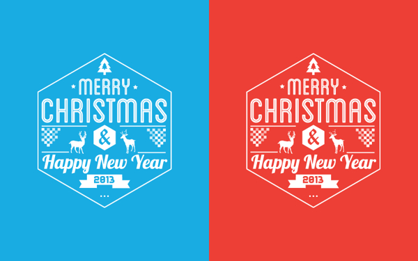 Typography merry christmas card 2013