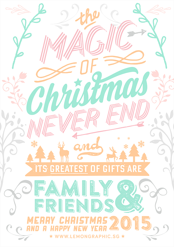 Merry Christmas typography card 2015